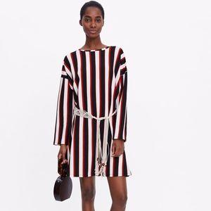 Zara Belted Striped long sleeve Dress